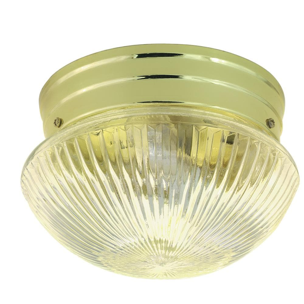 """Nuvo 1-Light 8"""" Ceiling Light w/ Clear Ribbed Mushroom Glass in Polished Brass"""