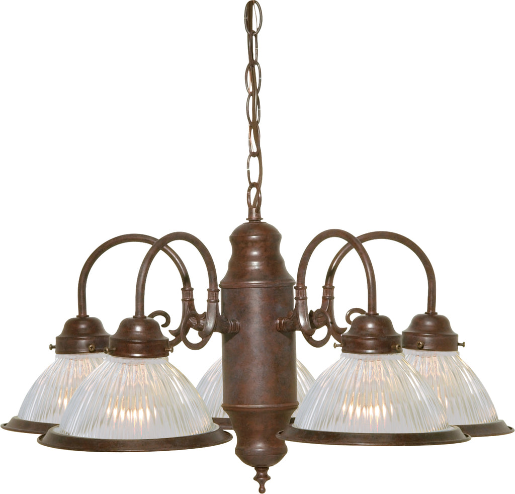 "Nuvo 5-Light 22"" Chandelier w/ Clear Ribbed Shades in Old Bronze Finish"