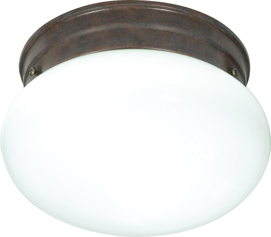 "1-Light 8"" Flush Mounted Close-to-Ceiling Light Fixture in Old Bronze Finish"