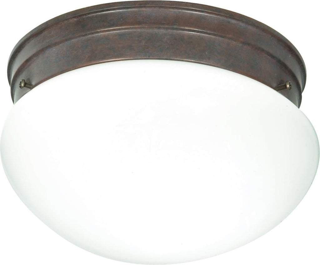 "2-Light 10"" Flush Mounted Close-to-Ceiling Light Fixture in Old Bronze Finish"
