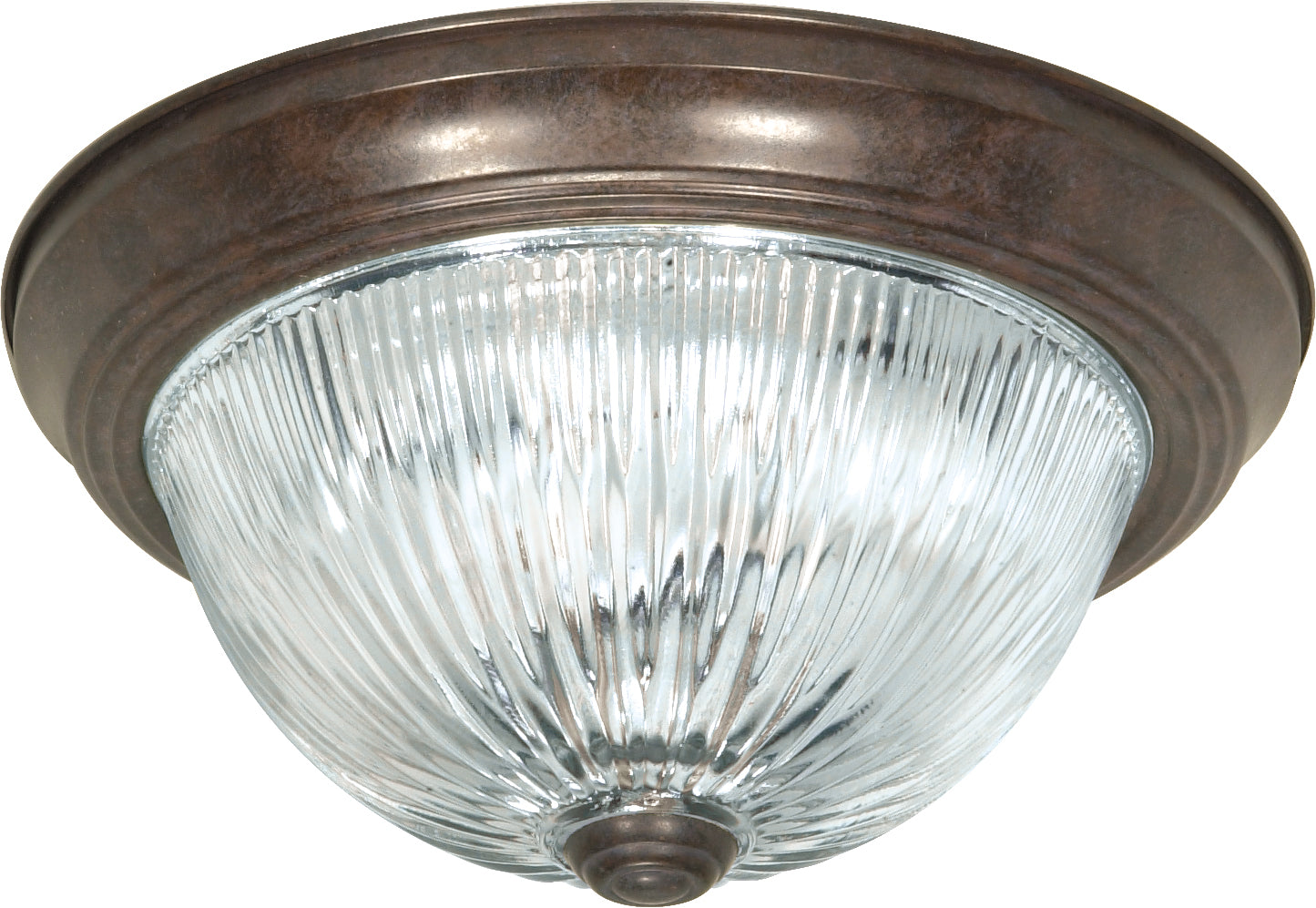 """Nuvo 2-Light 11"""" Ceiling Light w/ Clear Ribbed Glass in Old Bronze Finish"""