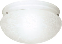 "2-Light 12"" Flush Mounted Close-to-Ceiling Light Fixture in Textured White"