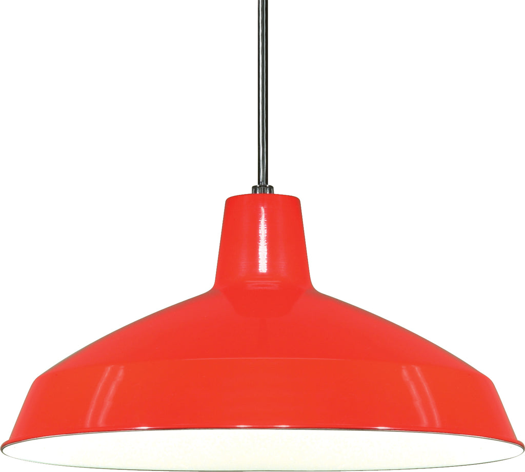1-Light Hanging Mounted Outdoor Light Fixture in Red Finish