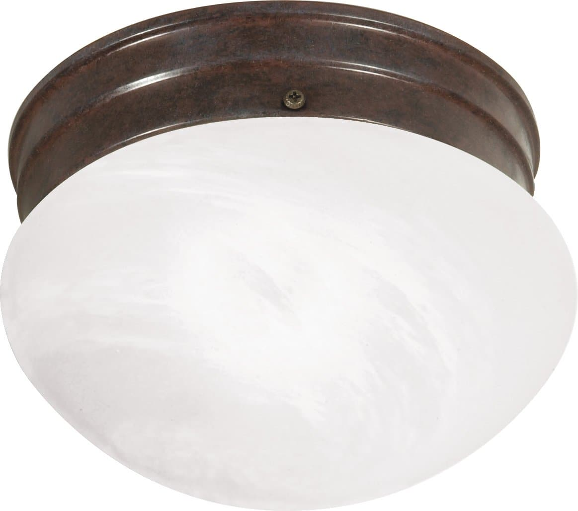 1-Light Flush Mounted Close-to-Ceiling Light Fixture in Old Bronze Finish