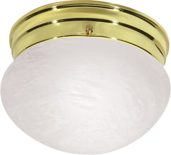"Nuvo 1-Light 8"" Flush Mount Small Alabaster Mushroom in Polished Brass Finish"