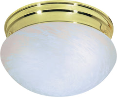 "Nuvo 2-Light 10"" Flush Mount w/ Medium Alabaster Mushroom in Polished Brass"