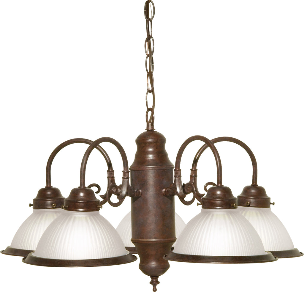 "Nuvo 5-Light 22"" Chandelier w/ Frosted Ribbed Shades in Old Bronze Finish"
