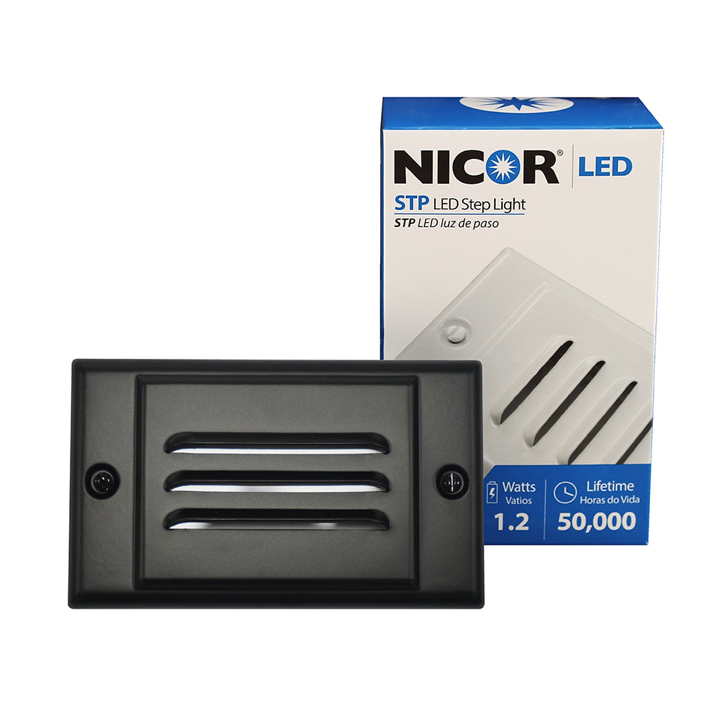 NICOR LED Step Light with Black Horizontal Faceplate