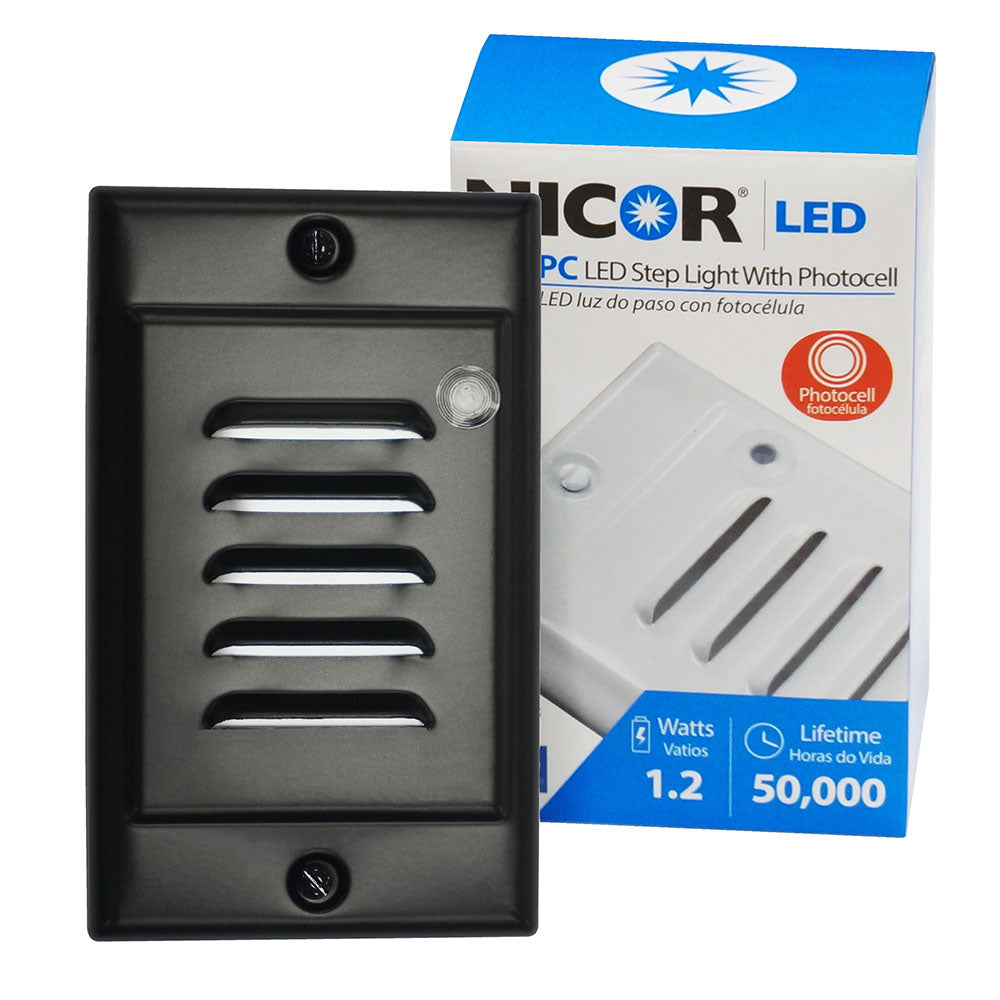 NICOR LED Step Light with Photocell Sensor Including Black Vertical Faceplate