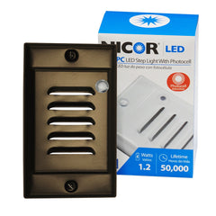 NICOR LED Step Light with Photocell Sensor Including Bronze Vertical Faceplate