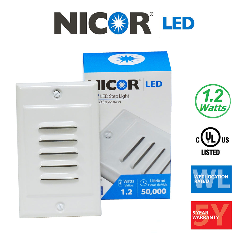 NICOR LED Step Light with Vertical and Horizontal Faceplates in White