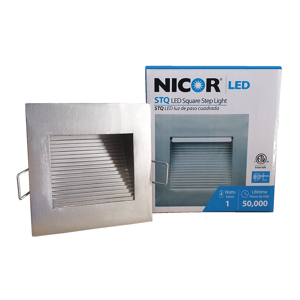 NICOR LED Square Accent Pathway Steplight, Nickel