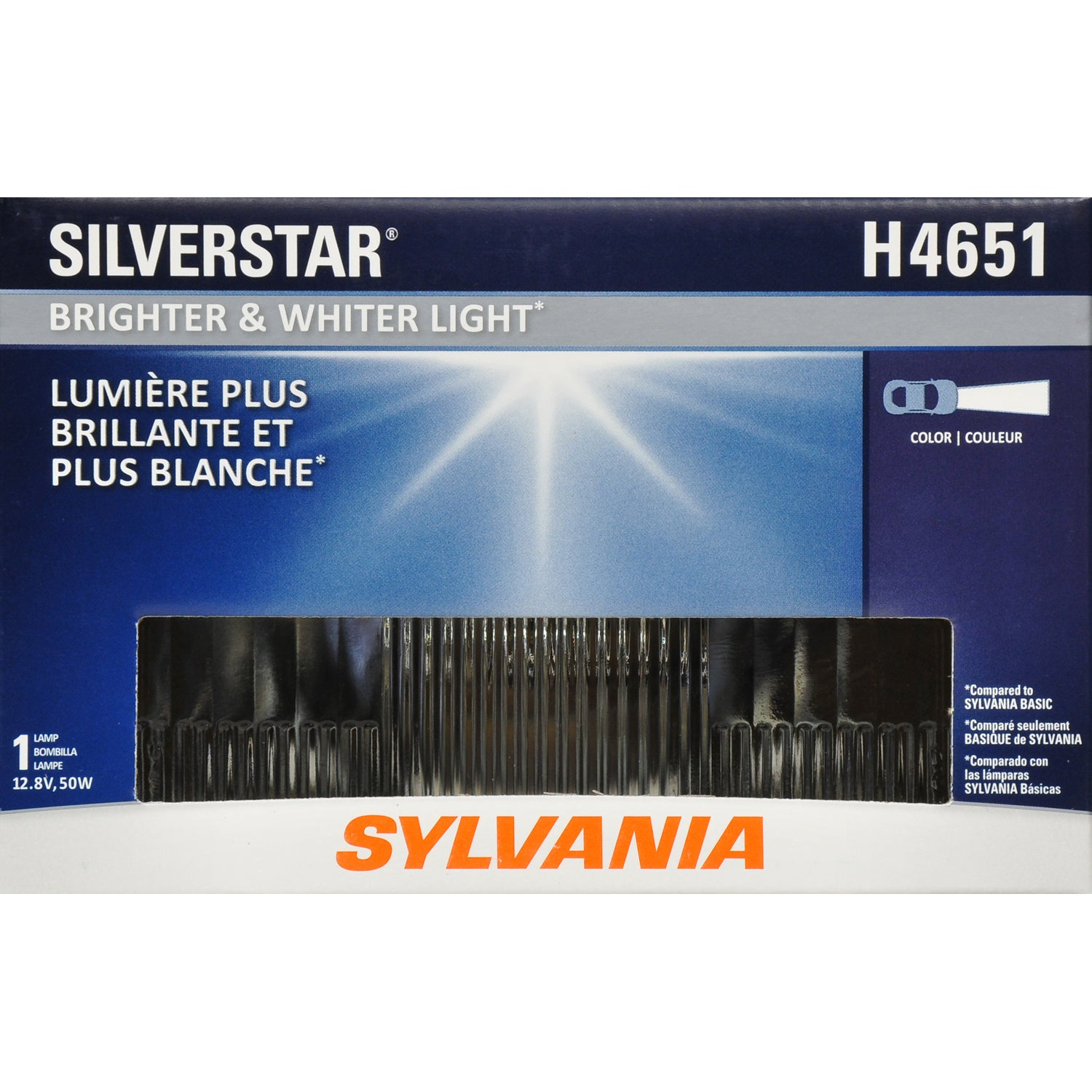SYLVANIA H4651 1A1 SilverStar High Performance Halogen Headlight 100x165