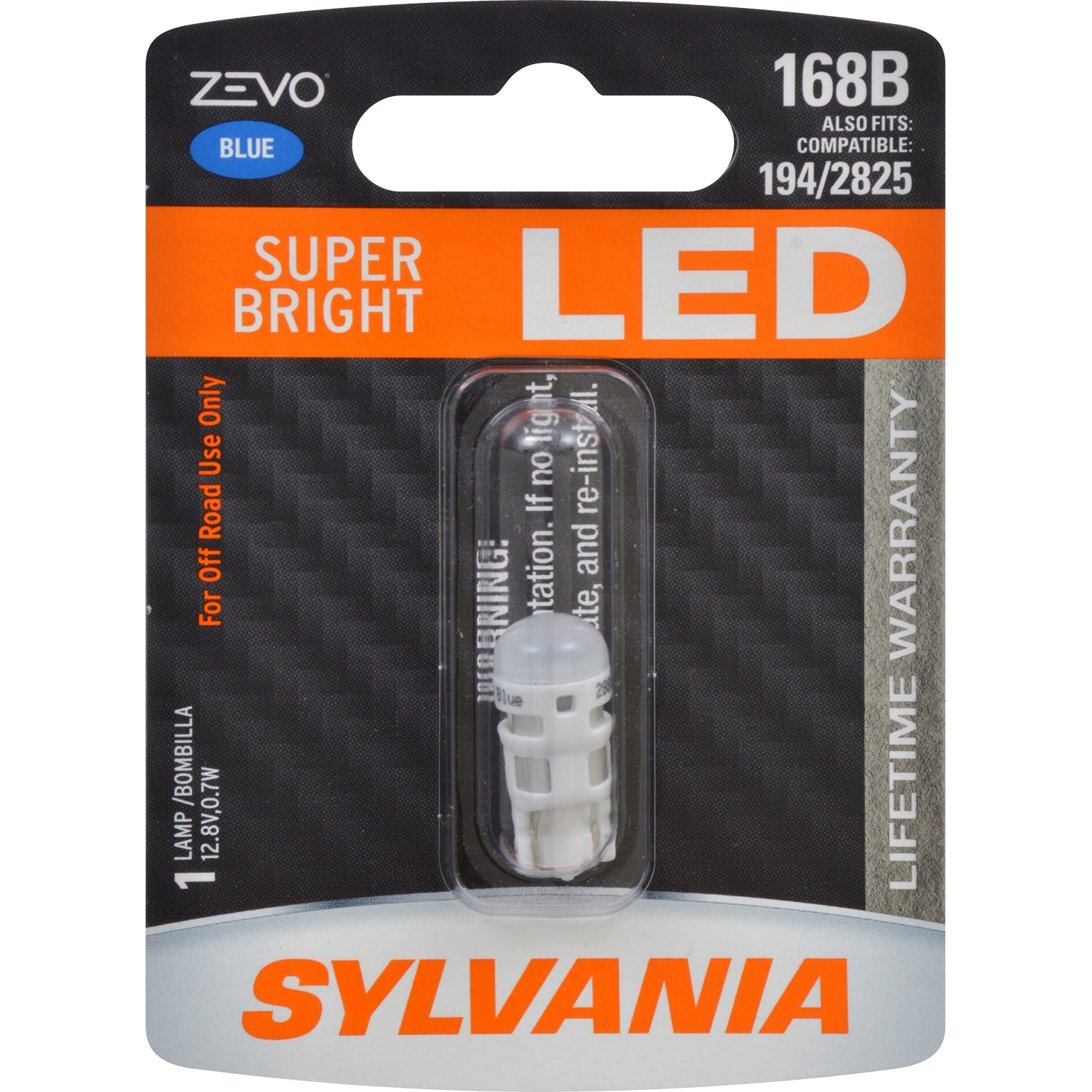SYLVANIA ZEVO 168 T10 W5W Blue LED Automotive Bulb