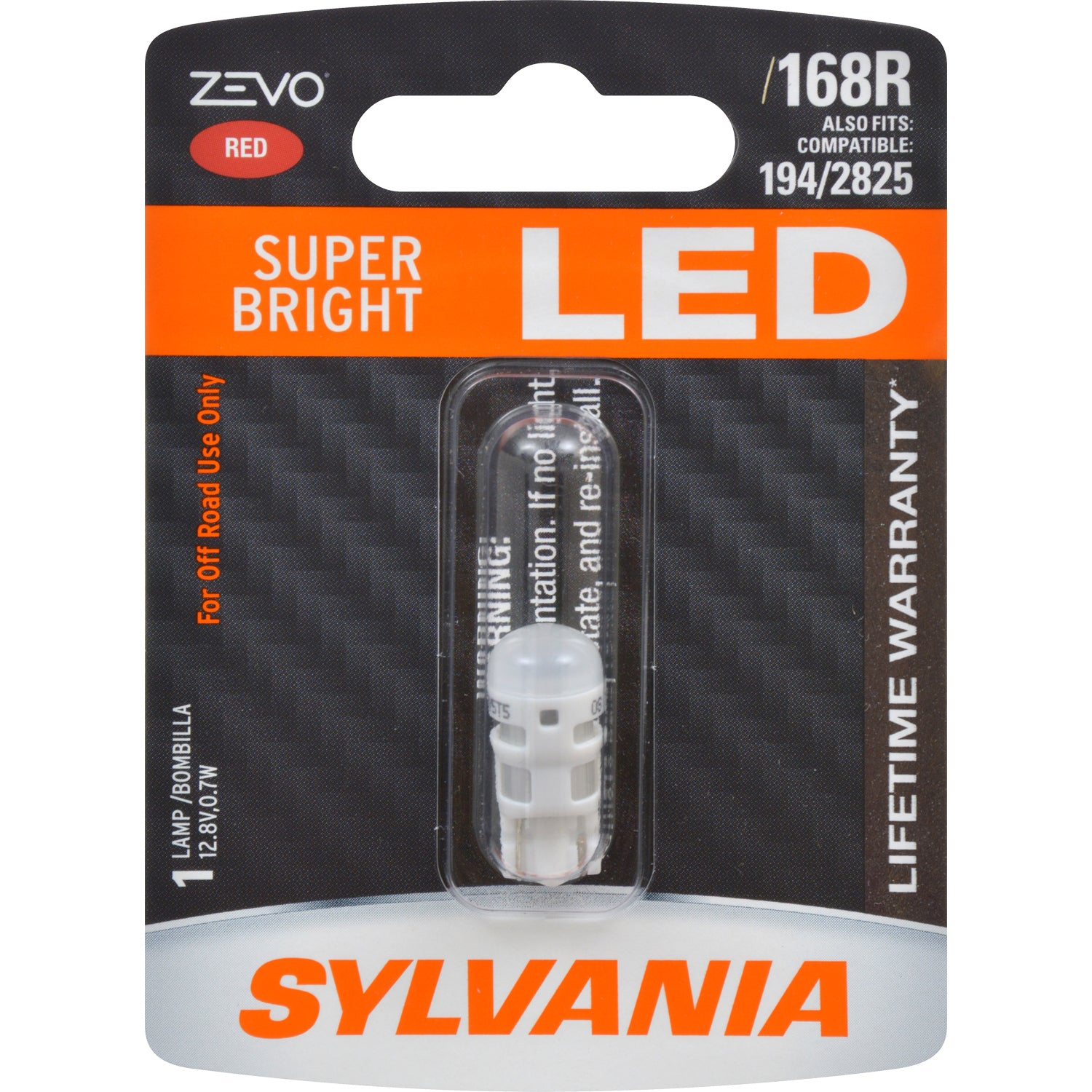 SYLVANIA ZEVO 168 T10 W5W Red LED Automotive Bulb