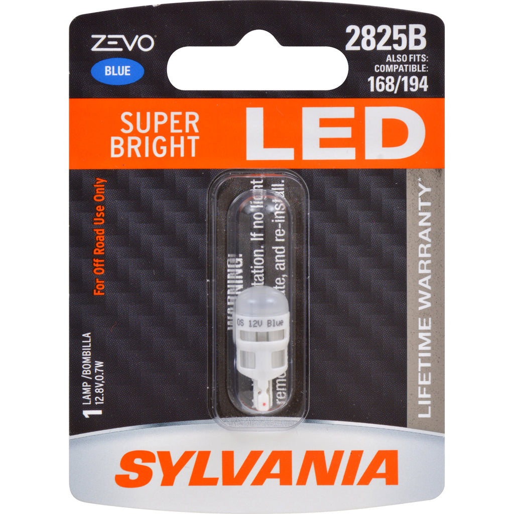 SYLVANIA ZEVO 2825 T10 W5W Blue LED Automotive Bulb