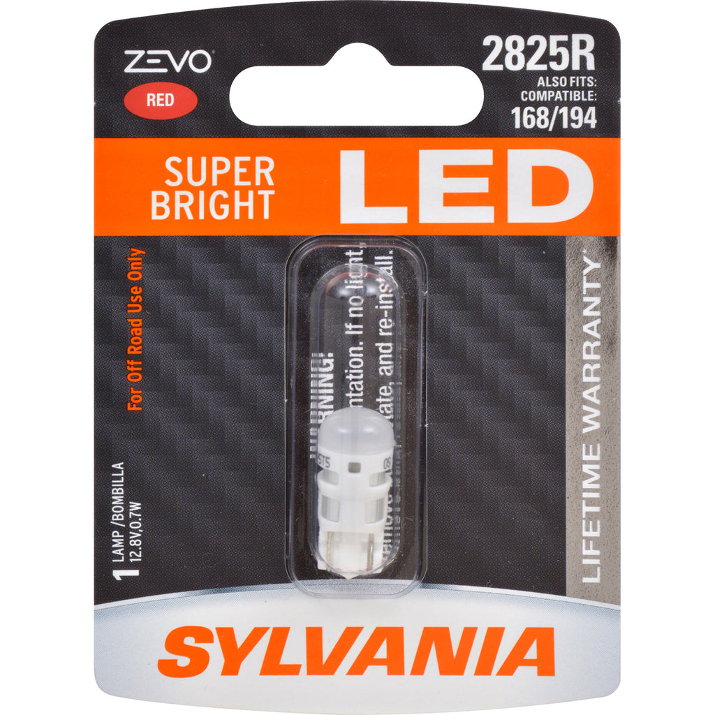 SYLVANIA ZEVO 2825 T10 W5W Red LED Automotive Bulb