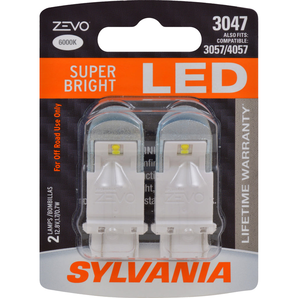 2-PK SYLVANIA 3047 LED ZEVO Super Bright White Automotive Bulb