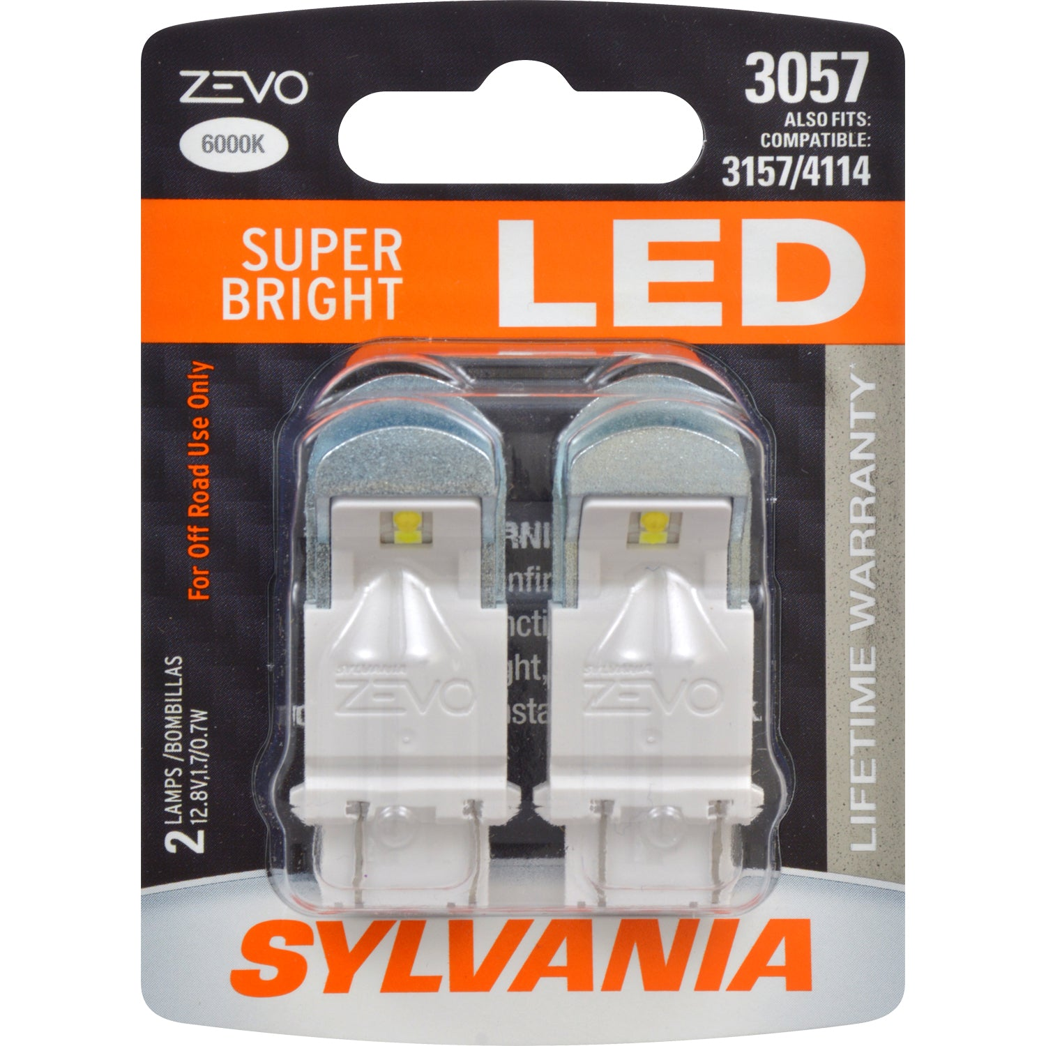 2-PK SYLVANIA 3057 LED ZEVO Super Bright Automotive Light Bulb