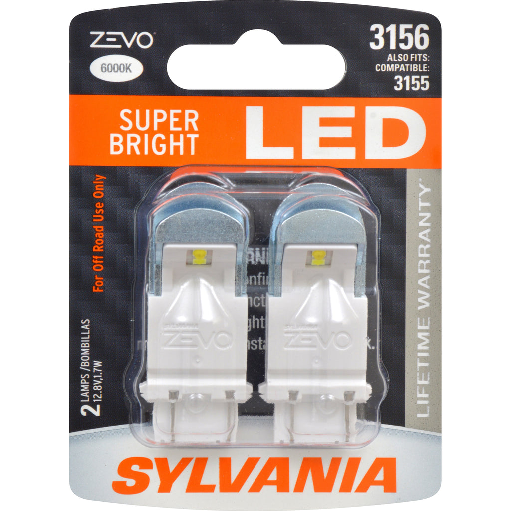 2-PK SYLVANIA 3156 ZEVO LED Super Bright 6000k Automotive Bulb - also fits 3155