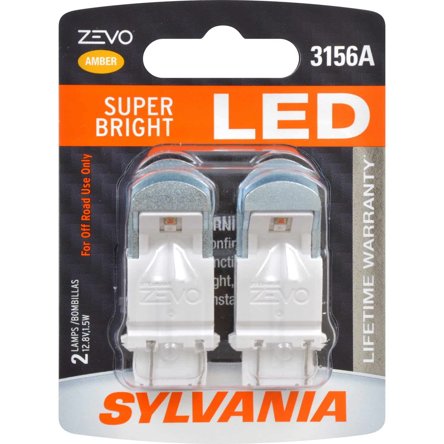2-PK SYLVANIA ZEVO 3156 Amber LED Automotive Bulb