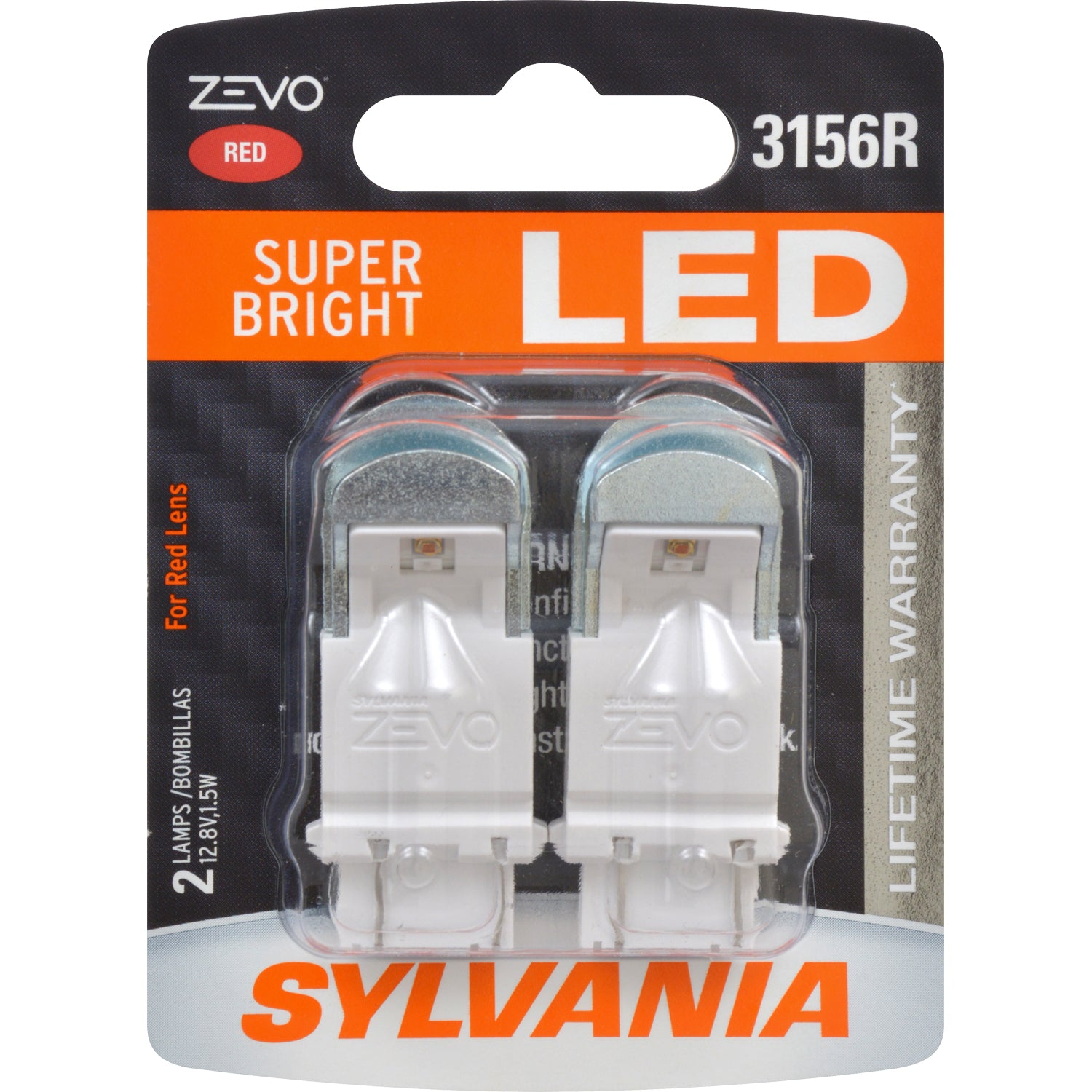 2-PK SYLVANIA ZEVO 3156 Red LED Automotive Bulb
