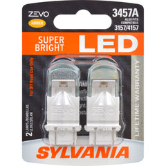 2-PK SYLVANIA ZEVO 3457 Amber LED Automotive Bulb