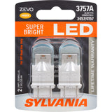 2-PK SYLVANIA ZEVO 3757 Amber LED Automotive Bulb
