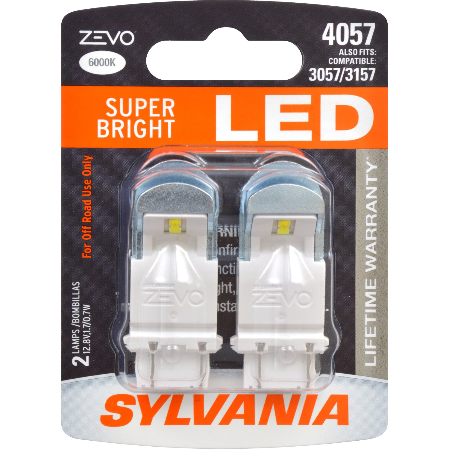 2-PK SYLVANIA ZEVO 4057 White LED Automotive Bulb