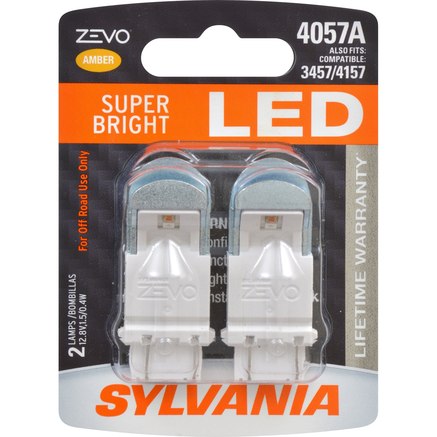 2-PK SYLVANIA 4057 ZEVO LED Amber Automotive Bulb - also fits 3457 & 4157