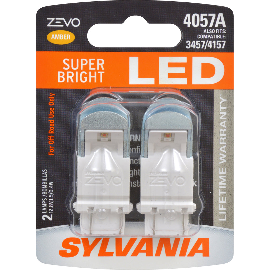 2-PK SYLVANIA ZEVO 4057 Amber LED Automotive Bulb
