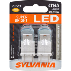 2-PK SYLVANIA ZEVO 4114 Amber LED Automotive Bulb