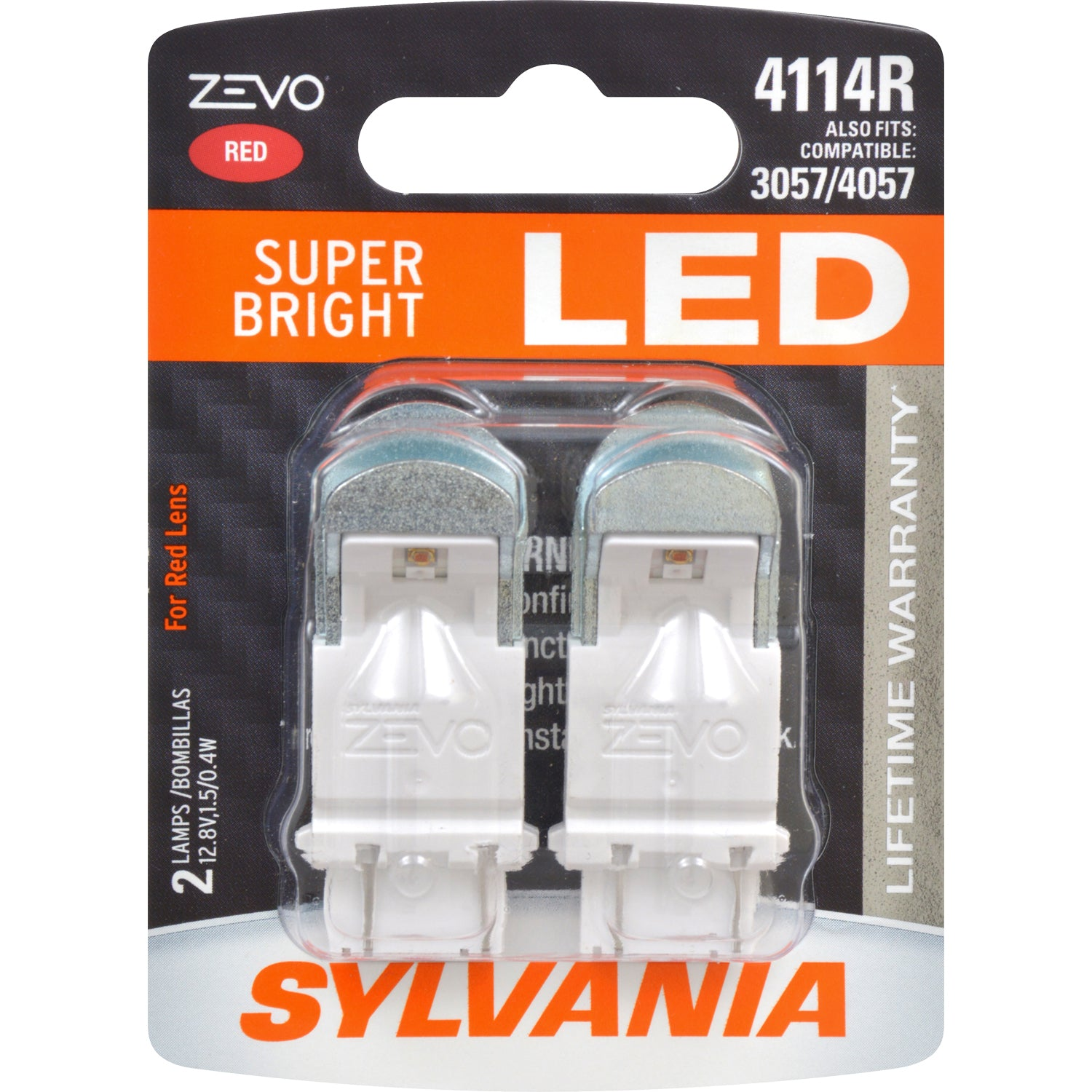 2-PK SYLVANIA ZEVO 4114 Red LED Automotive Bulb