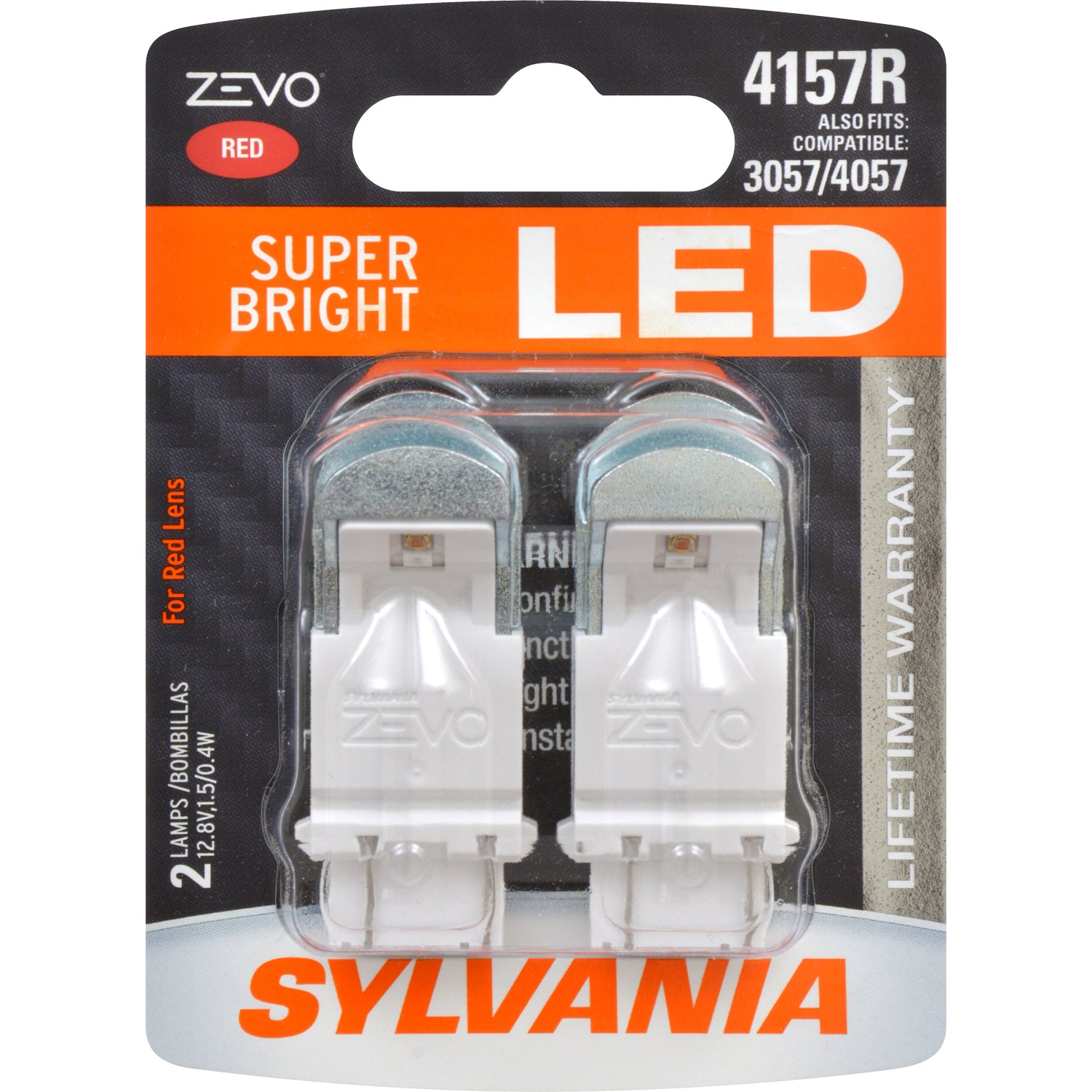 2-PK SYLVANIA ZEVO 4157 Red LED Automotive Bulb
