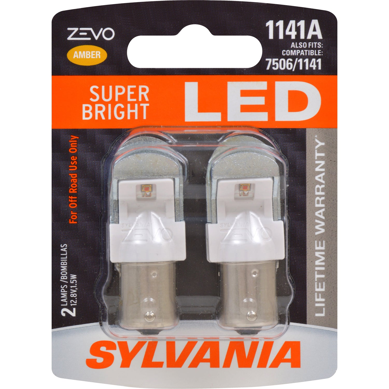 2-PK SYLVANIA ZEVO 1141 Amber LED Automotive Bulb