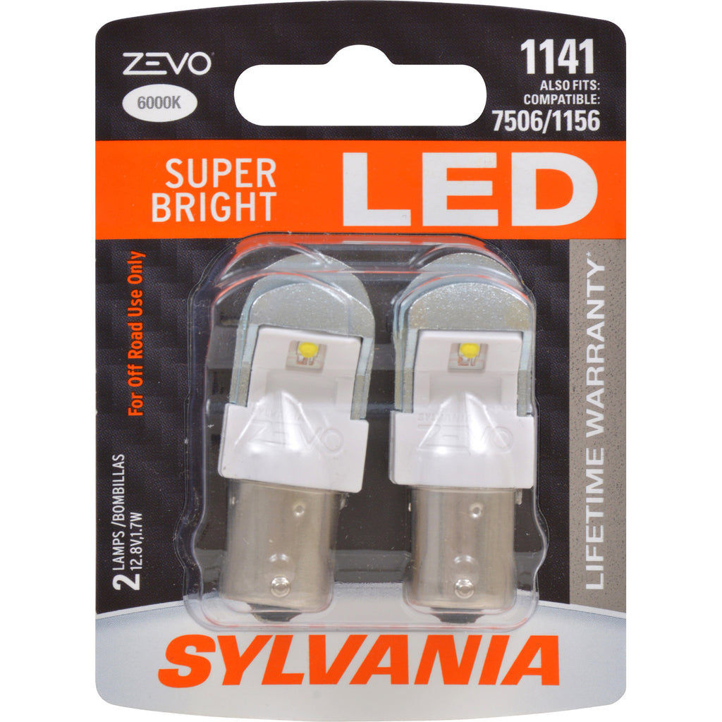 2-PK SYLVANIA ZEVO 1141 White LED Automotive Bulb