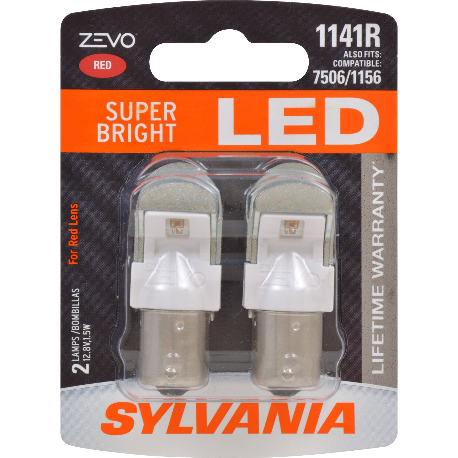 2-PK SYLVANIA ZEVO 1141 Red LED Automotive Bulb