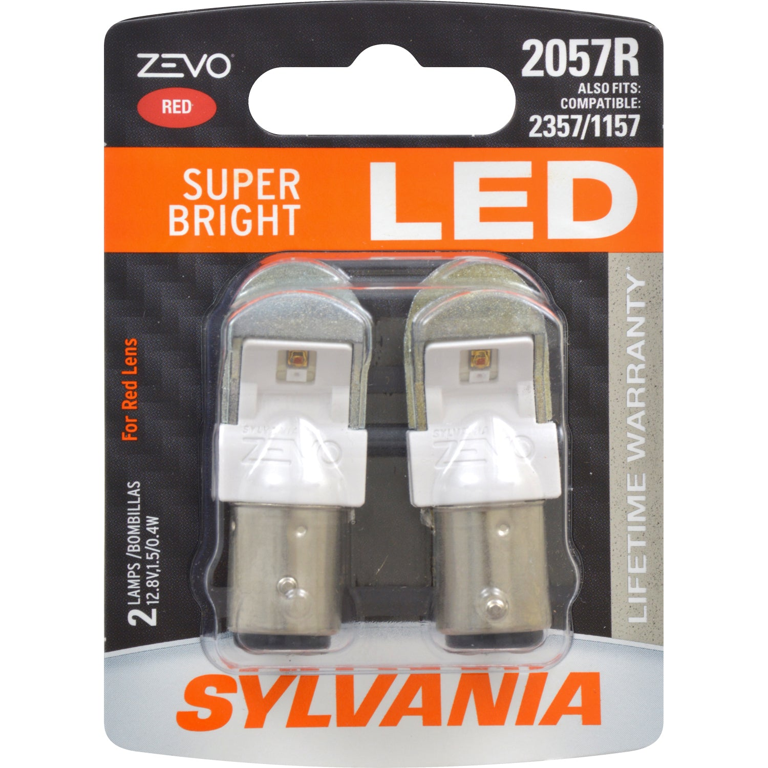 2-PK SYLVANIA ZEVO 2057 Red LED Automotive Bulb