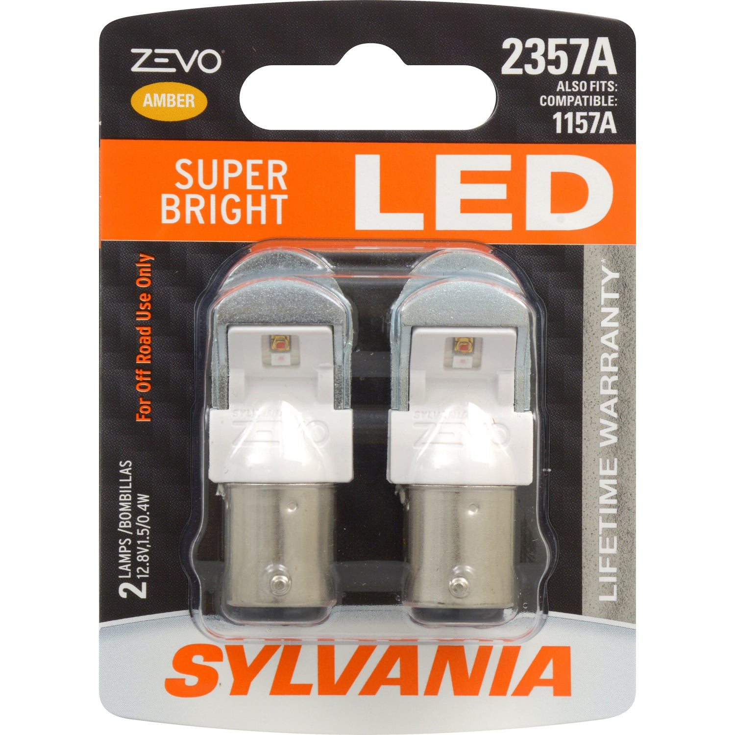 2-PK SYLVANIA 2357 ZEVO LED Amber Automotive Bulb - also fits 2057A 1157A