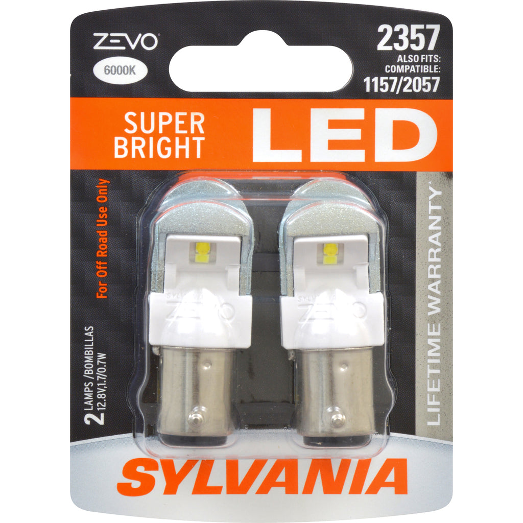 2-PK SYLVANIA ZEVO 2357 White LED Automotive Bulb