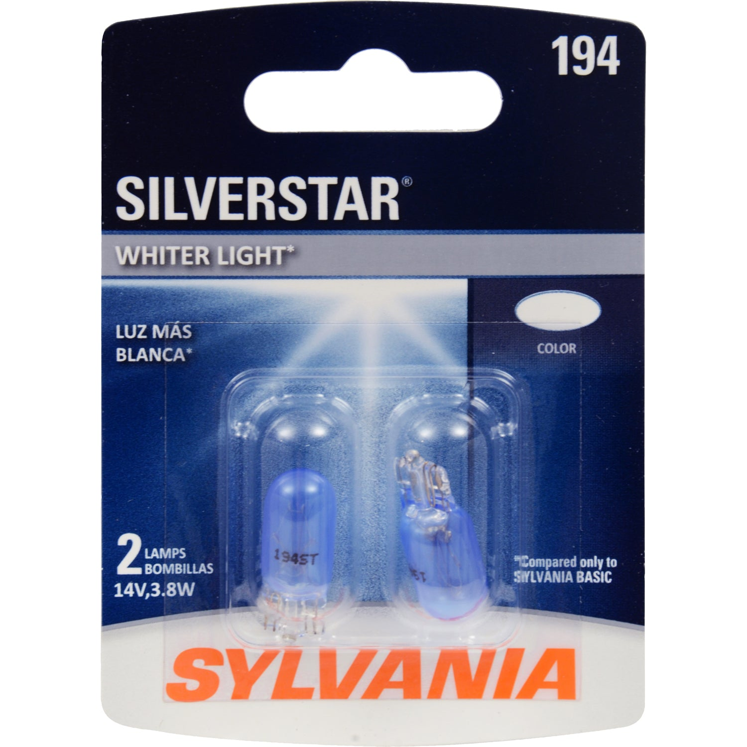 2-PK SYLVANIA 194 SilverStar High Performance Automotive Light Bulb