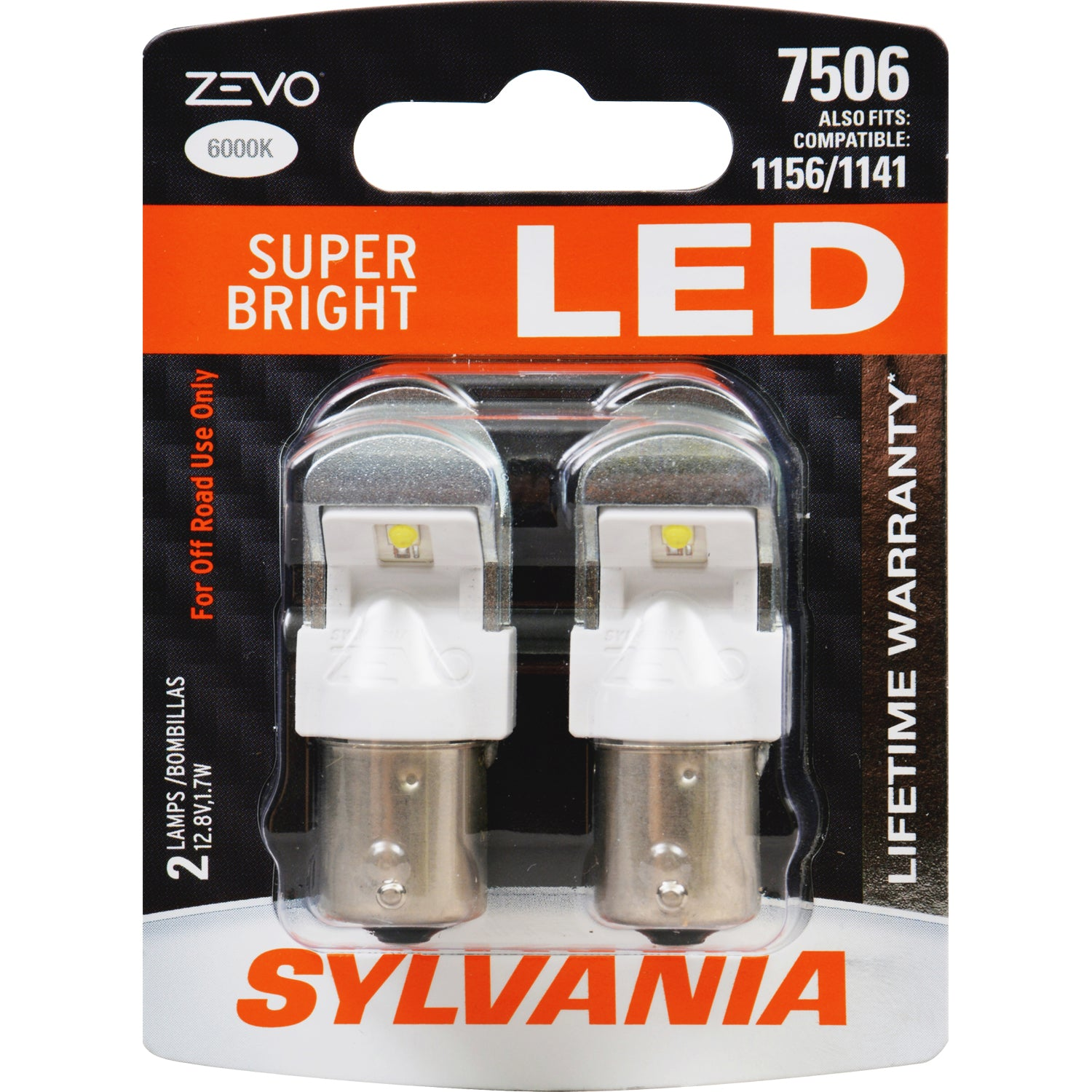 2-PK SYLVANIA ZEVO 7506 White LED Automotive Bulb