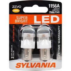 2-PK SYLVANIA ZEVO 1156 Amber LED Automotive Bulb
