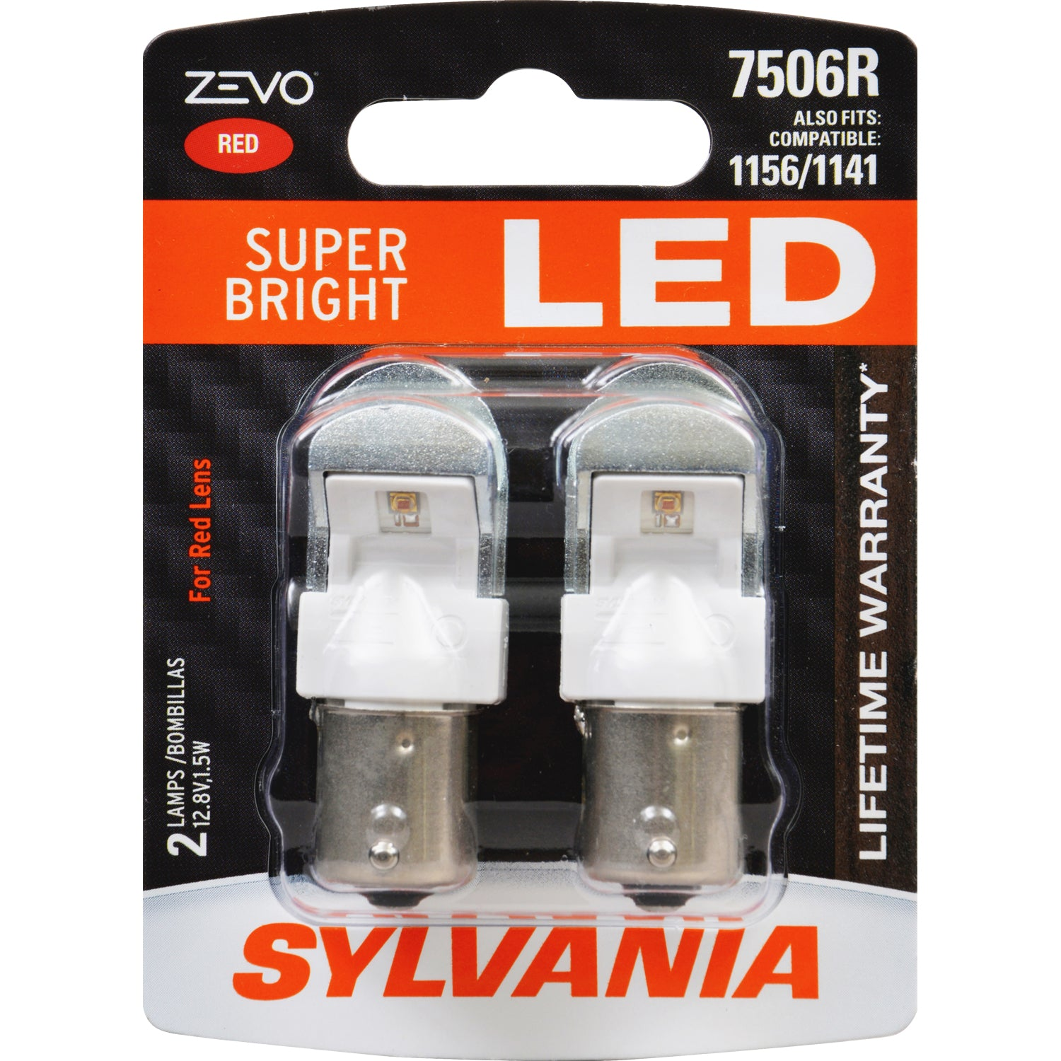 2-PK SYLVANIA ZEVO 7506 Red LED Automotive Bulb