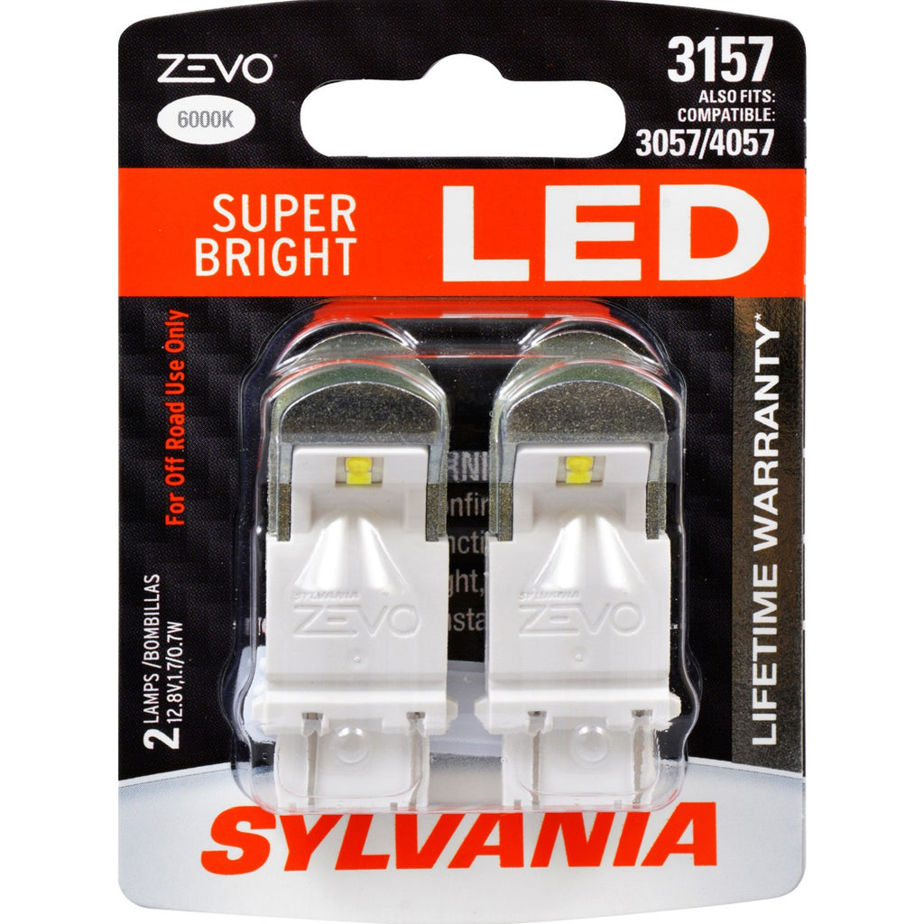 2-PK SYLVANIA ZEVO 3157 White LED Automotive Bulb