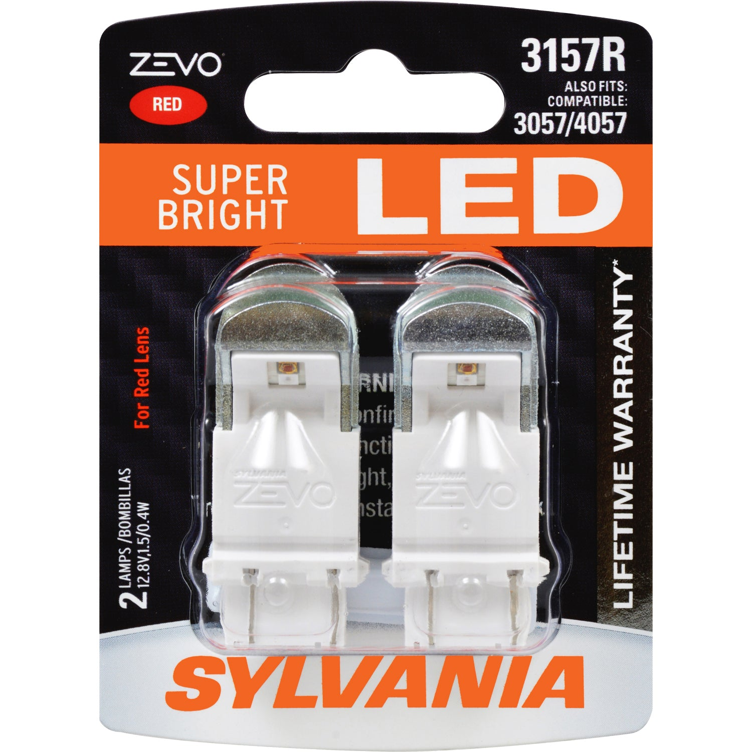 2-PK SYLVANIA ZEVO 3157 Red LED Automotive Bulb