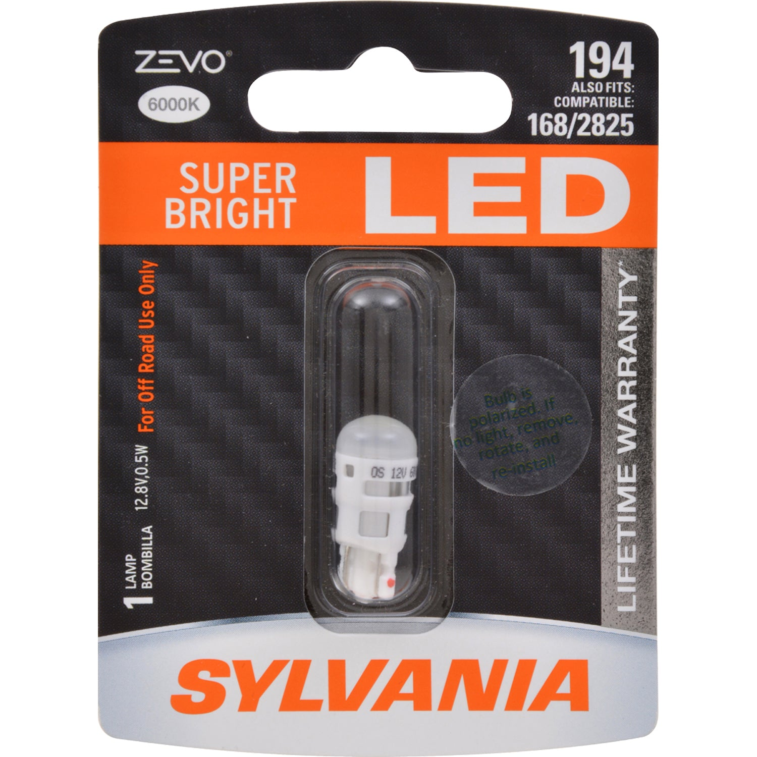 SYLVANIA 194 ZEVO LED W5W Super Bright 6000K Automotive Bulb also fits 168, 2825