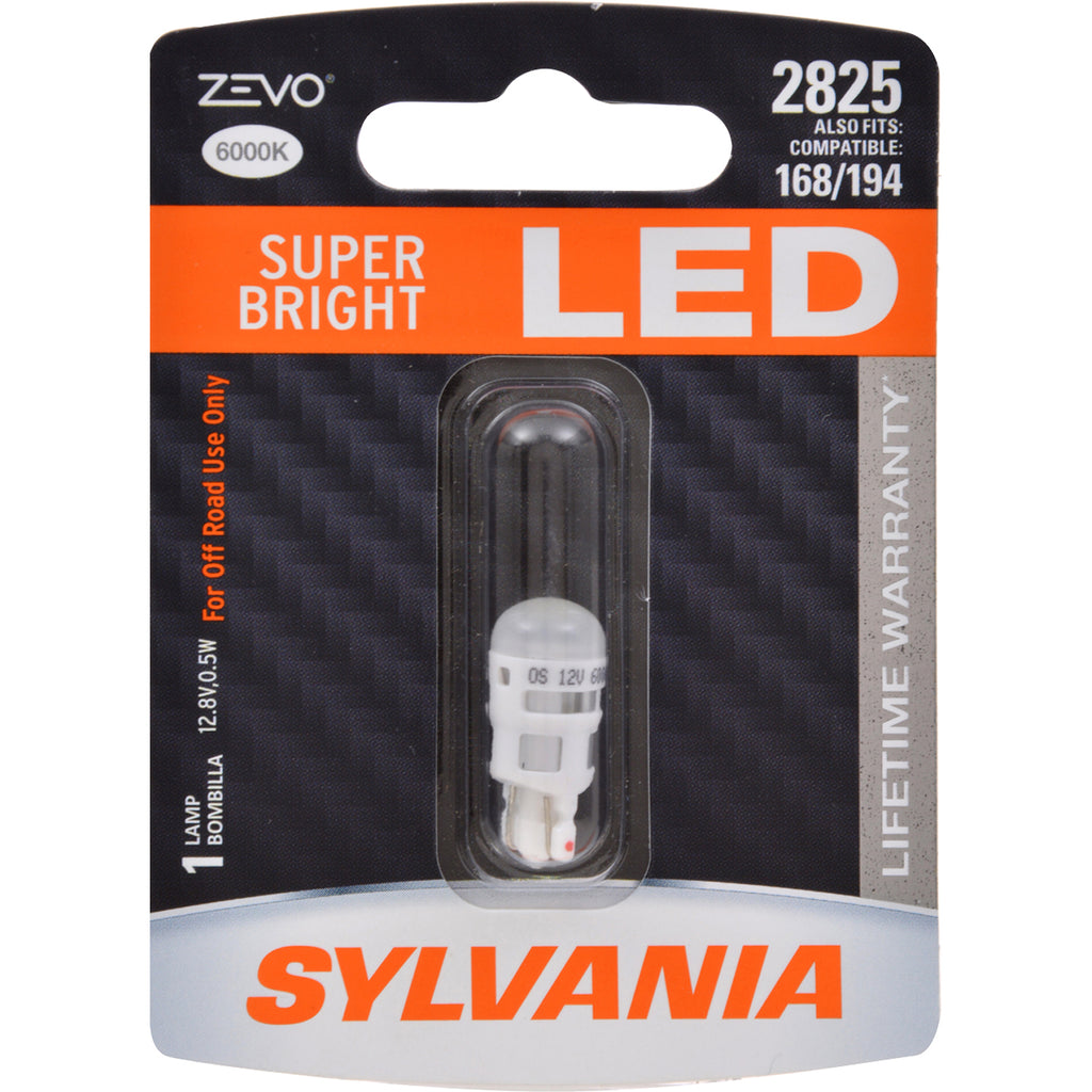 SYLVANIA ZEVO LED 2825 W5W Super Bright 6000K Automotive Bulb - fits 168 &194