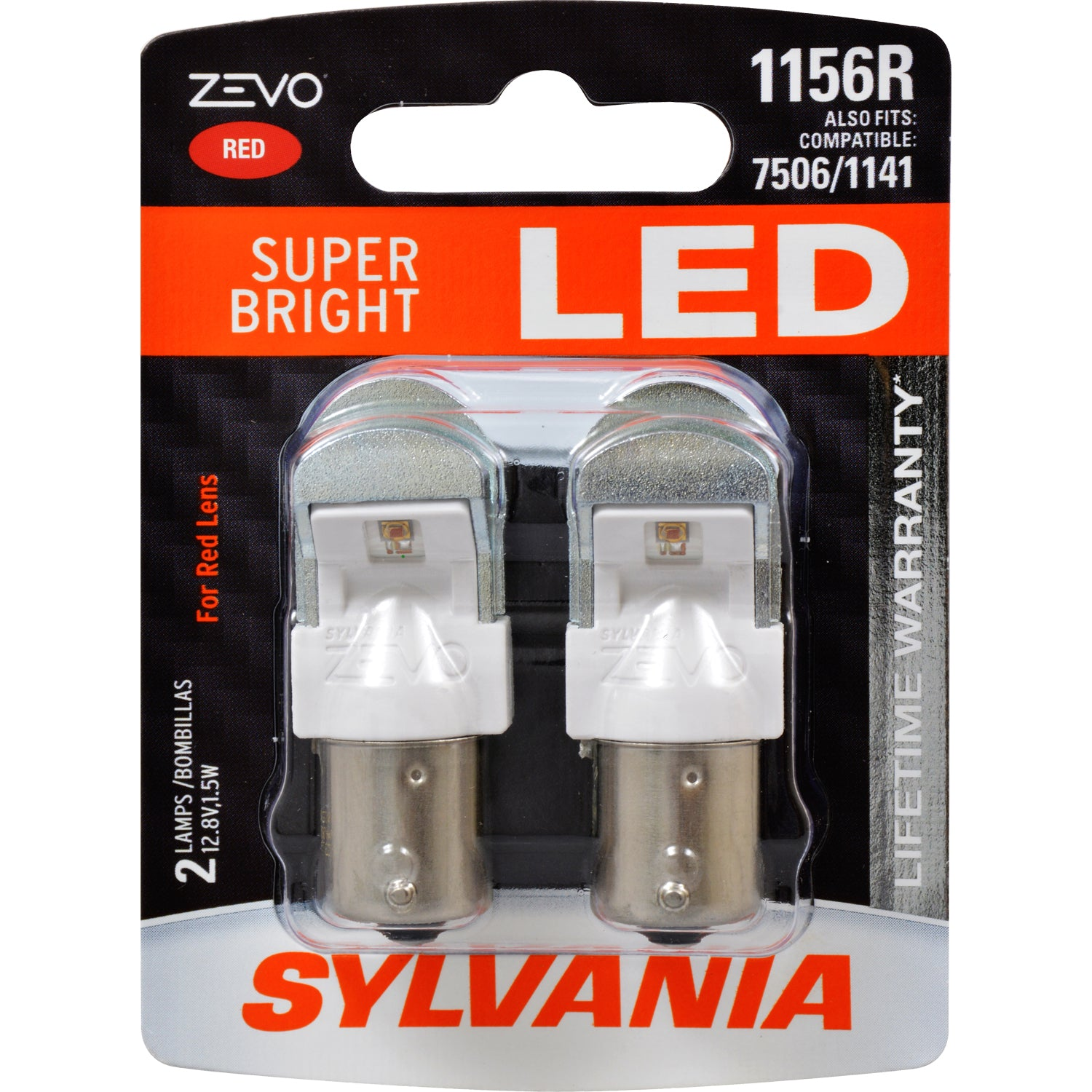 2-PK SYLVANIA ZEVO 1156 Red LED Automotive Bulb