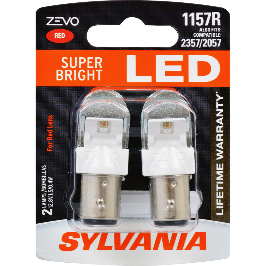 2-PK SYLVANIA ZEVO 1157 Red LED Automotive Bulb